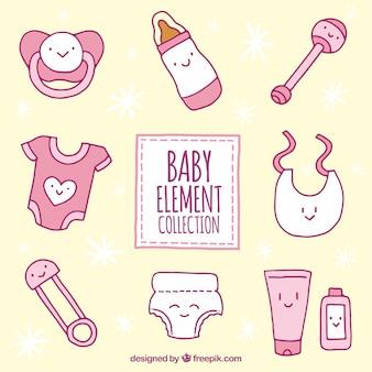 Colección de elementos de bebé con caras sonrientes