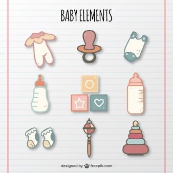 Colección de elementos del bebé en colores pastel