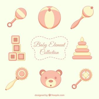 Colección de elementos de bebé en colores pastel