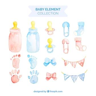 Colección de elementos de bebé en estilo acuarela