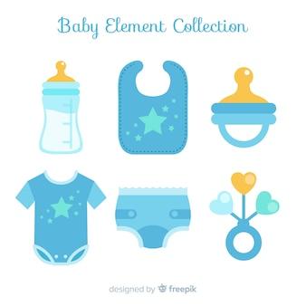 Colección elementos bebé planos
