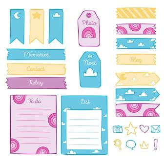 Colección de elementos de bloc de notas de planificador creativo