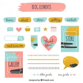 Colección de elementos de blog en estilo vintage