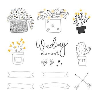 Colección de elementos de boda decorativos
