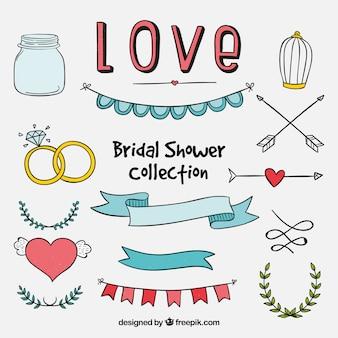 Colección de elementos de boda dibujados a mano