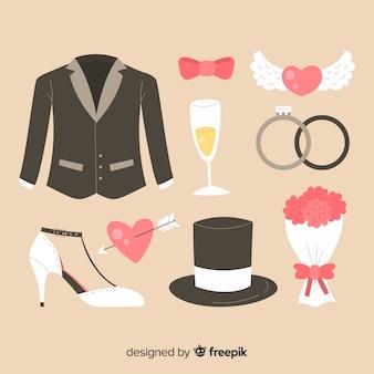 Colección elementos boda planos