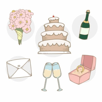 Colección de elementos de boda con tarta y champán