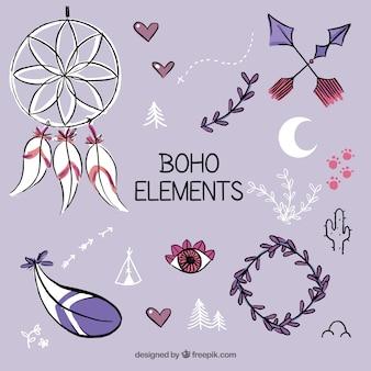 Colección de elementos boho dibujados a mano
