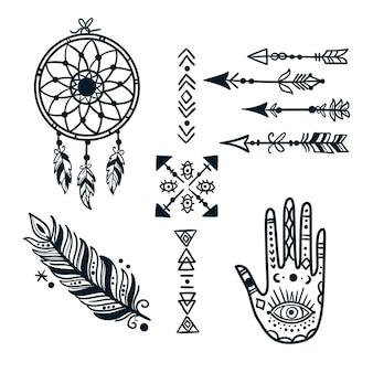Colección elementos boho dibujados a mano