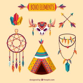 Colección de elementos boho en estilo hippie