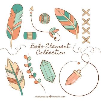 Colección de elementos boho con plumas