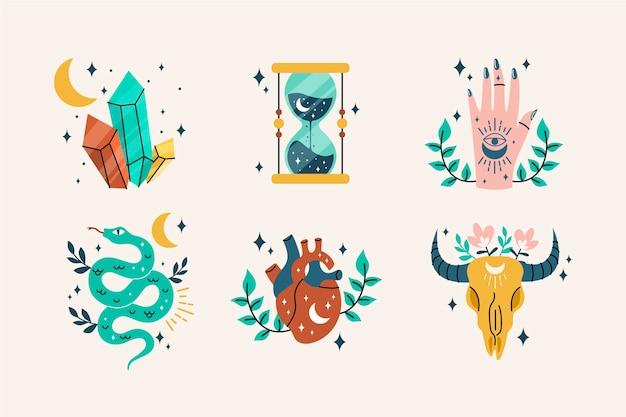 Colección de elementos boho