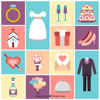 Colección de elementos bonitos de boda
