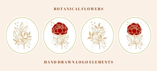 Colección de elementos botánicos vintage de rosas, peonías y ramas de hojas para marcas de belleza o logotipos florales femeninos
