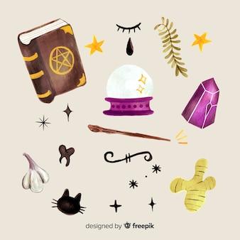 Colección de elementos de brujas de halloween de acuarela