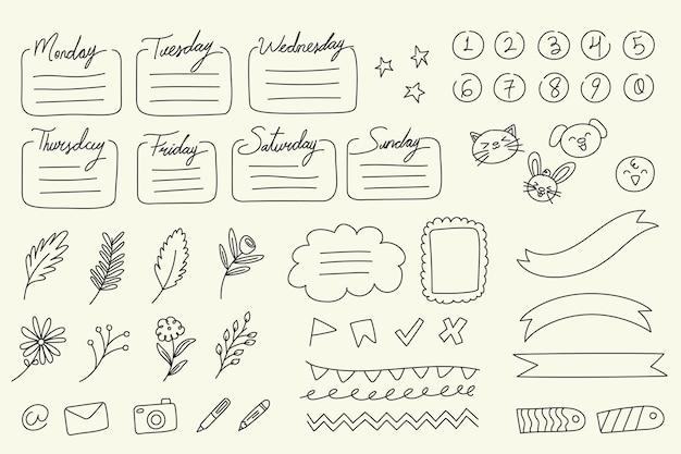 Colección de elementos de bullet journal dibujados a mano