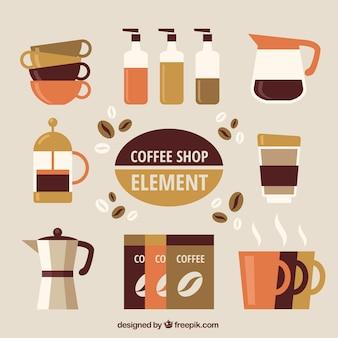 Colección con elementos de café planos