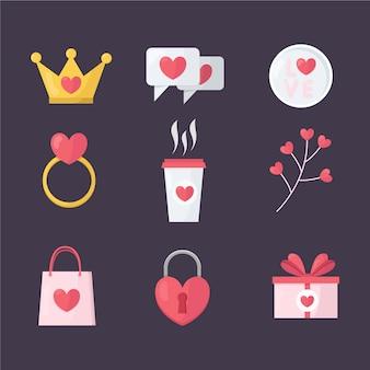 Colección de elementos de café y regalos de san valentín plana