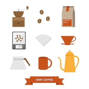Colección de elementos de café