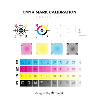 Colección de elementos de calibrado de cmyk