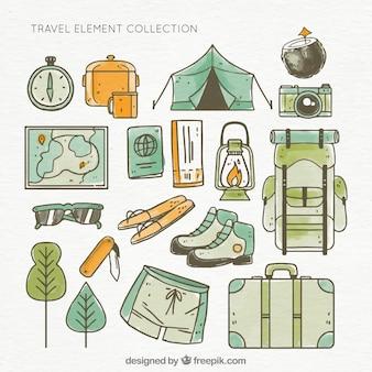Colección de elementos de campamento dibujados a mano