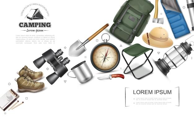 Colección de elementos de camping realistas con binoculares partidos taza silla portátil carpa termo linterna pala hacha botas brújula sombrero de panamá cuchillo mochila