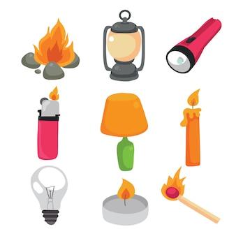 Colección de elementos de camping
