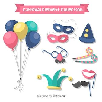 Colección de elementos de carnaval dibujados a mano