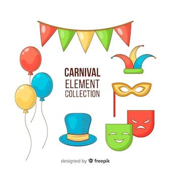 Colección elementos carnaval dibujados a mano
