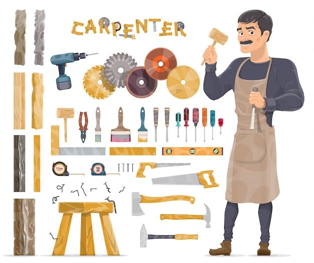 Colección de elementos de carpintero