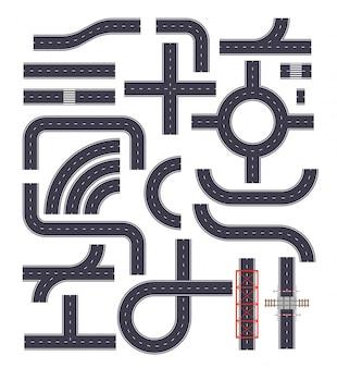 Colección de elementos de carretera conectables. carreteras con senderos, encrucijadas y elementos ferroviarios. posición de la vista superior. ilustración
