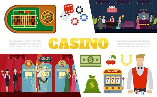 Colección de elementos de casino plano con mesa de póquer dados dados bolsa de dinero máquina tragamonedas clientes crupier camarera