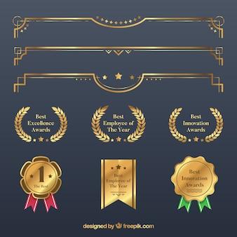 Colección de elementos de certificado en color dorado