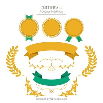 Colección de elementos de certificado en estilo plano