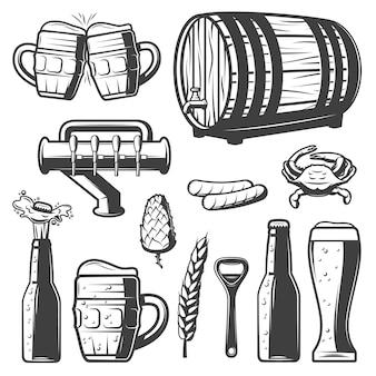 Colección de elementos de cerveza vintage