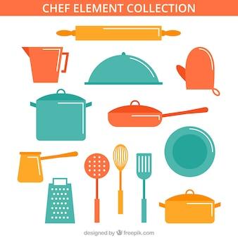 Colección de elementos de chef en diseño plano