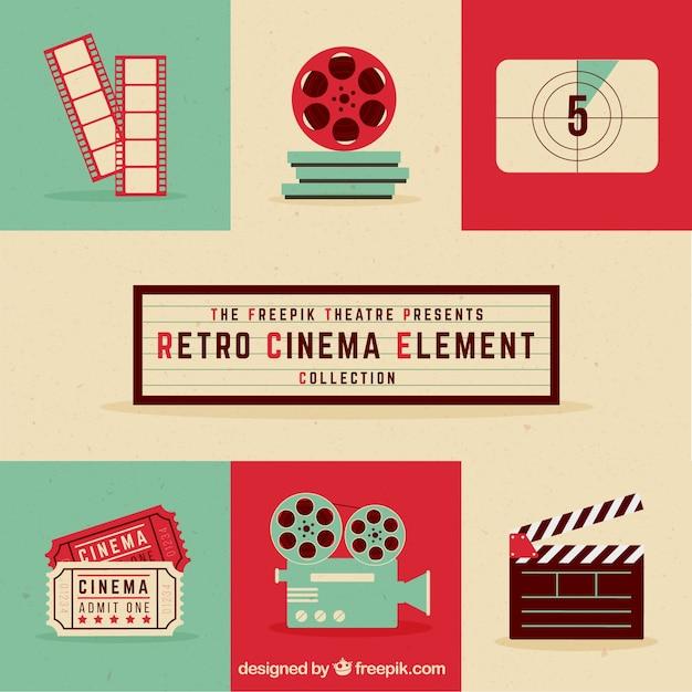 Colección de elementos de cine retro