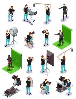 Colección de elementos cinematográficos isométricos
