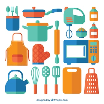 Colección de elementos de cocina de colores en diseño plano