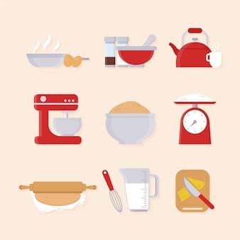 Colección de elementos de cocina ilustrados.