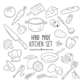 Colección de elementos de cocina