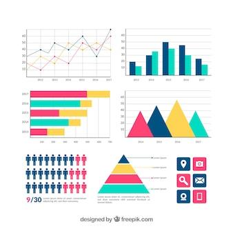 Colección de elementos coloridos de infografía en estilo plano