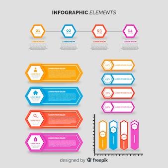 Colección elementos coloridos infografía
