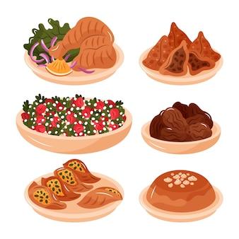 Colección de elementos de comida iftar dibujados a mano