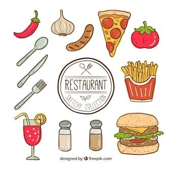 Colección de elementos de comida rápida dibujados a mano