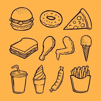 Colección de elementos de comida rápida