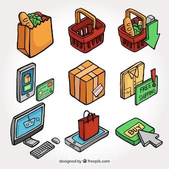 Colección de elementos de compra isométricos dibujados a mano