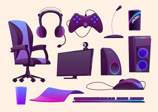 Colección de elementos conceptuales de streamer de juegos de dibujos animados