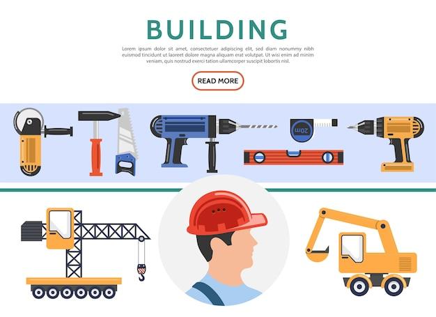 Colección de elementos de construcción planos