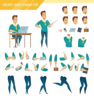 Colección de los elementos del constructor del creador del carácter del trabajador de sexo masculino de la oficina con las cabezas de las piernas de las manos y los accesorios aislados